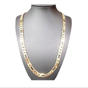 14K GP Concave Textured Figaro Chain Necklace